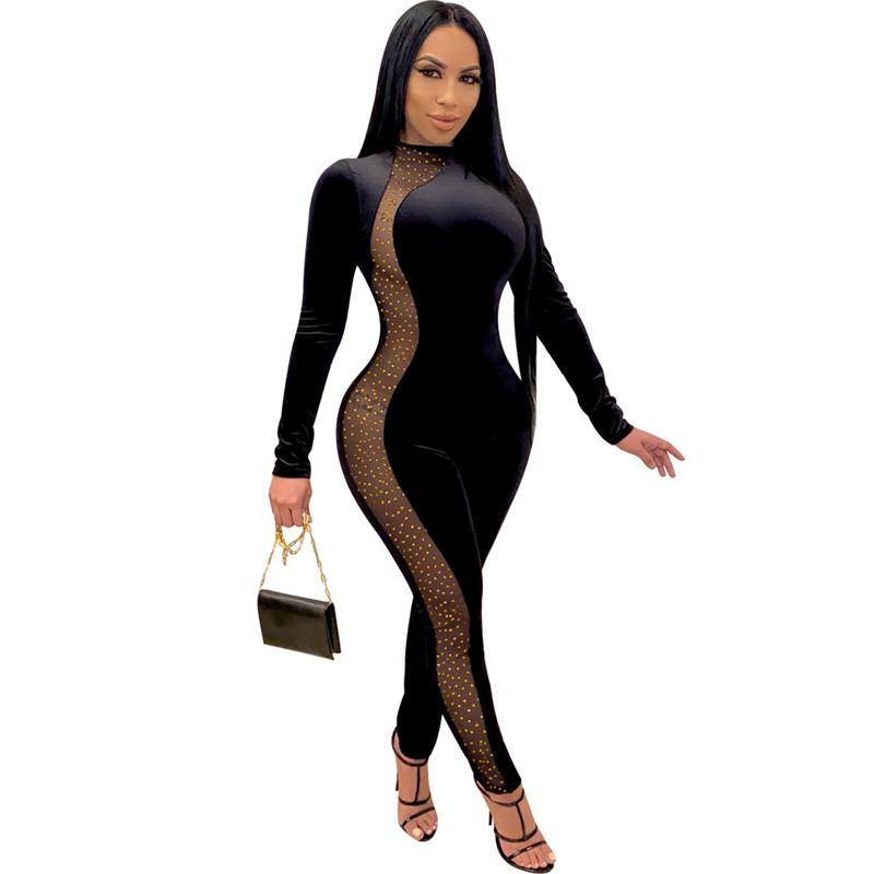 Sexy avec strass Womens Skinny Rompers Casual Soild Couleur Femme À Manches Longues Mode Jumpsuits