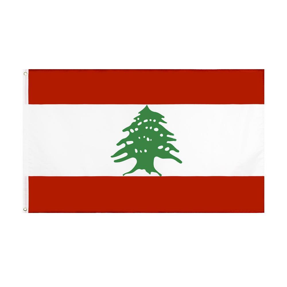 Trasporto libero nelle azione 3x5ft 90x150cm Green Tree LB LBN La Repubblica del Libano bandiera per interni ed esterni Banner