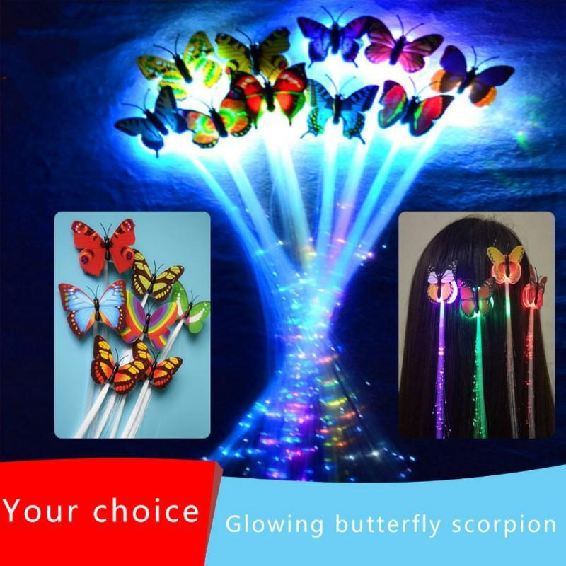10pcs Colorful Luminous Braid LED Flash Wig Braid With Butterfly Clip For Party LED Wig Light Flash Hair Clip Hair Accessories .