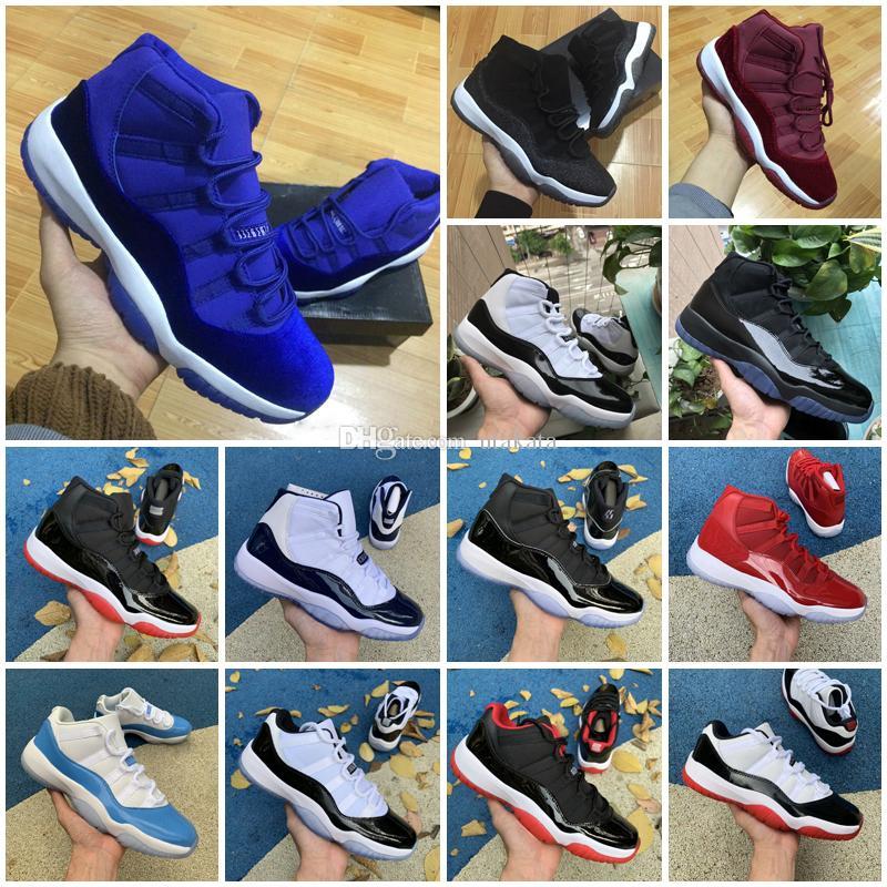 Alto taglio NUOVO 11 Velvet Heiress Rosso Blu Grigio Suede Scarpe da basket Spazi da uomo Spazi da uomo 11s XI 13 12 4 Authentic Sports Shoes Shoes