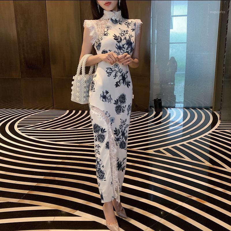2019Summer Women Evening Party Dress Vestido elegante largo Qipao Lace Sleeve Cheongsam Estilo chino Impresión Flower Flor Vestidos de novia1