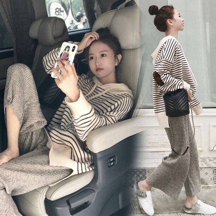 Top otoño pantalones pantalones y pantalones de traje de la manera nuevo otoño de Corea del estilo de la red extranjera tapa roja y un pantalón de punto mot picante de las mujeres embarazadas