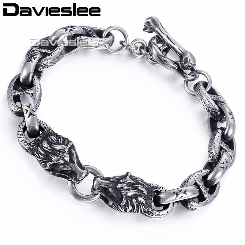 Ссылка, цепь Davieslee мужская волчья головка браслета из нержавеющей стали из нержавеющей стали 316L овальный серебристый цвет 10 мм LHB472