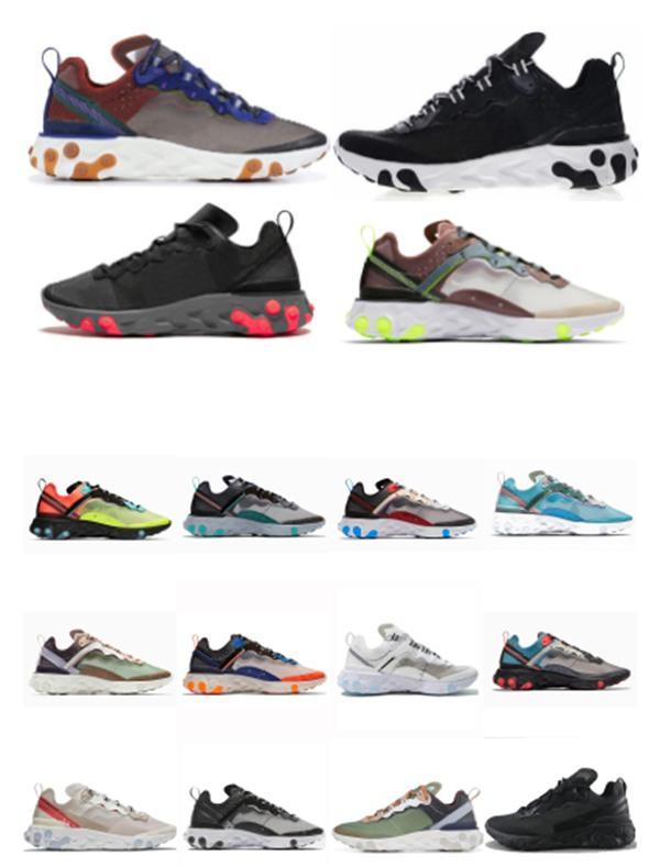 2020 новый элемент React Element 87 55 кроссовки для мужской женской упаковки белые кроссовки бренда мужчин женщин тренер мужчин женщин дизайнерские кроссовки