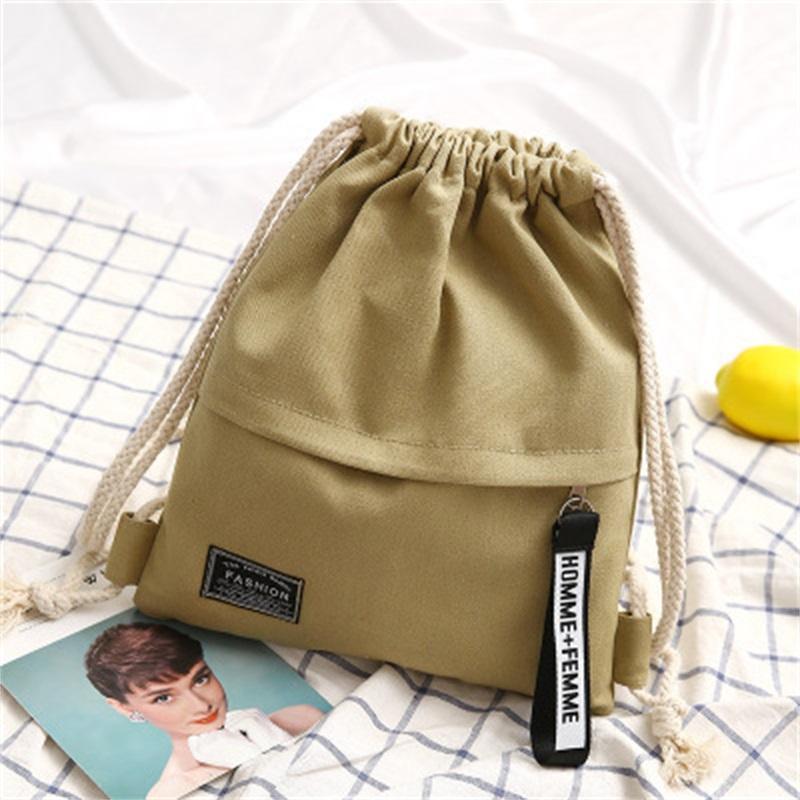 Neue Mode Leinwand Kordelzug Rucksack Tasche Cinch Sack Neue Mode Zubehör Tragbare Casual String Sackpack Rucksäcke 155 K2