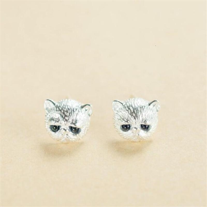 Gümüş takılar 925 se163124; Yumuşak kedi, kristal küpe, zarif hayvanlar, doğum günü hediyesi