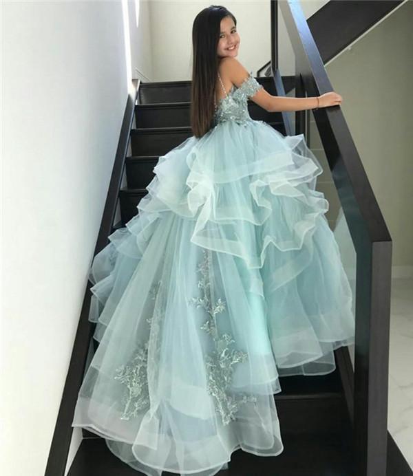 2021 Luxo Beads Flower Girl Dresses para o casamento elegante Pageant Vestido Lace apliques Santos Comunhão Vestidos para a menina