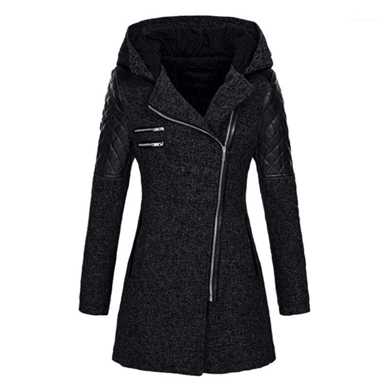 여성용 봄과 가을 겨울 양털 두건 자켓 Softshell 자켓 패션 방풍 방수 긴 Outwear1