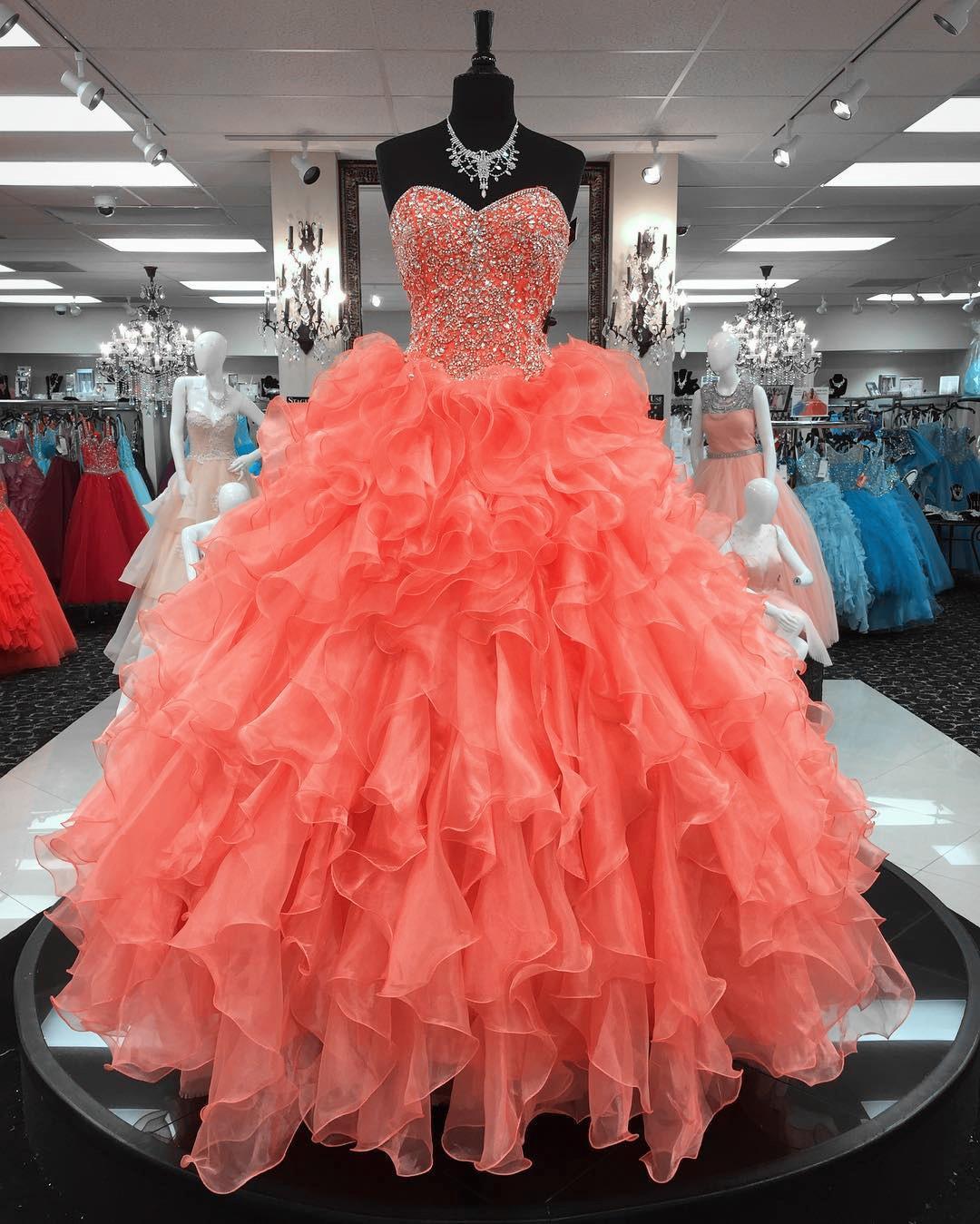 Nuevo Coral Quinceañera Vestidos Vestido Bola Tulle Apliques Apliques Sweet 16 Vestidos Tallas Tallas Formales Vestidos de Prom Partido QC1546