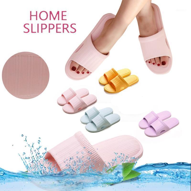 Non-slip striped indoor slippers Women Summer Slides Women Unisex Non-Slip Couple Bathroom Slipper Thick Bottom Beach Shoes#07161