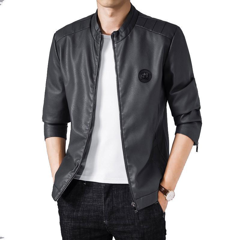 Imprimer Patch Dessins Mens Hiver Col O-Cou Black Manteau Manteau Homme PU Ciracture à glissière Cuir Veste Hommes Vêtements Grande taille