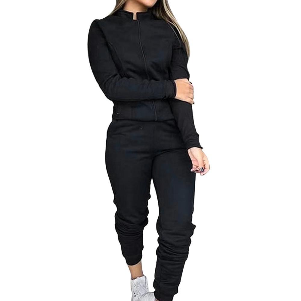 Mujeres Ropa de deporte del chándal de otoño Sudaderas Pantalones chándal con capucha del juego de sudor Running fitness más el tamaño de jogging Set 201009