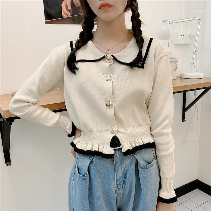 Pull Perle Étudiants Cardigan Bouton Bouton Pull Femmes Tricot Chemise Blanc Dentelle Blanc Blanc Blanc Blanc Automne Hiver Plus Taille XXXXXL1