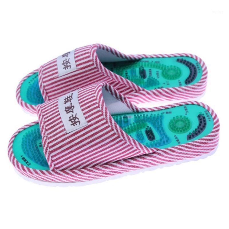 Massaggiatori elettrici Modello a righe Reflexology Foot Acupoint Slipper Massaggio Promuovere la circolazione sanguigna Rilassamento Care Shoes 25cm 1