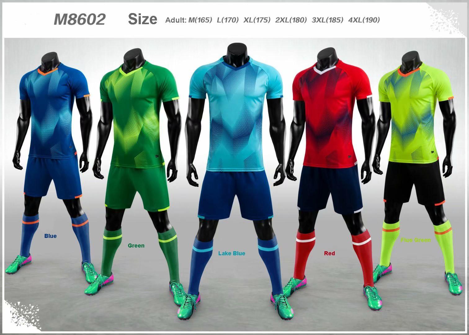 M8602 Yetişkin M-4XL Blank özelleştirme Takım Seti 2020-2021 Futbol Forma Seti Futbol Takımı Erkekler Eğitim Üniformalar Gömlek + Şort
