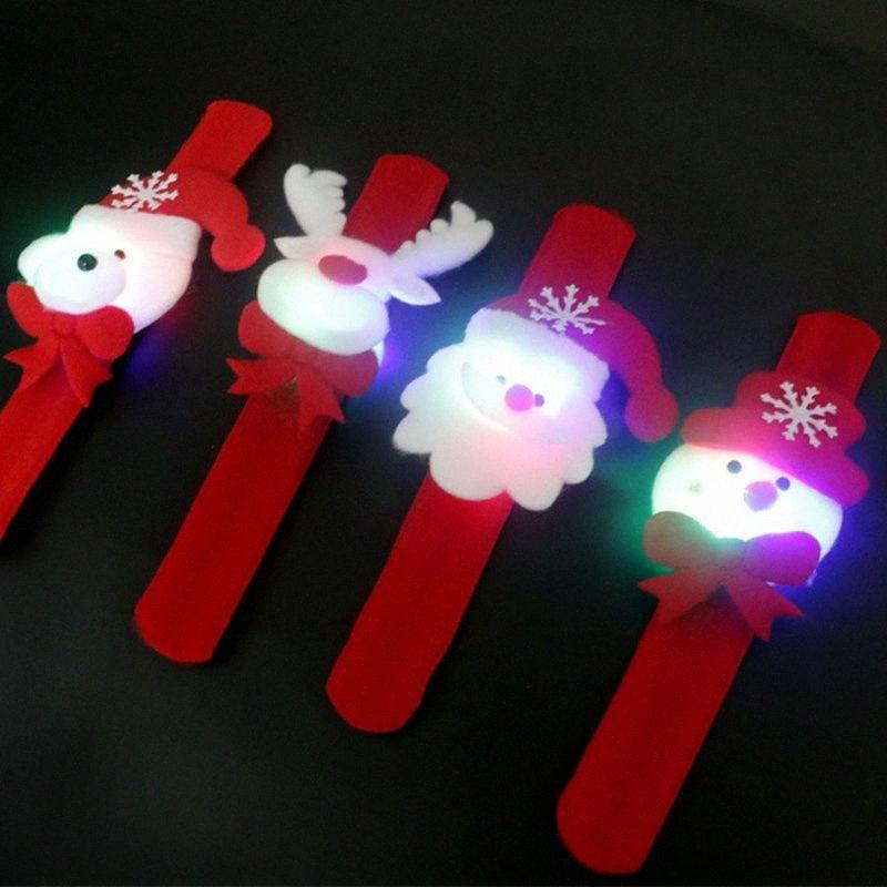 Regalo dei bambini di Natale di natale Patting Circle Bracelet Watch Babbo Natale del pupazzo di neve dei cervi nuovo anno partito giocattolo polso decorazione di Natale Outl pz8L #