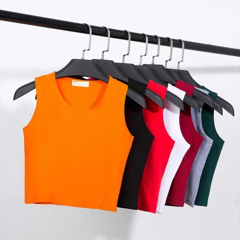 2020 Nova Estilo de Verão Mulheres de Algodão de Algodão para Senhoras Multicolor Casual Tops Sem Mangas Colheitas Camisola Camisola 14 Cores Jhsou