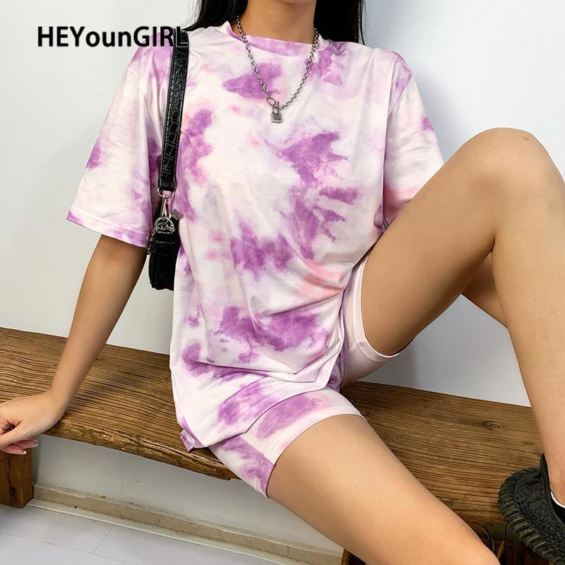 Heyoungirl Tie Dye Stampato Casual Shorts e Top Set Fashi Fashi Moda Sciolto Tracksuits da donna Harajuku 2 pezzi Outfits Summer Streetwear Y200701