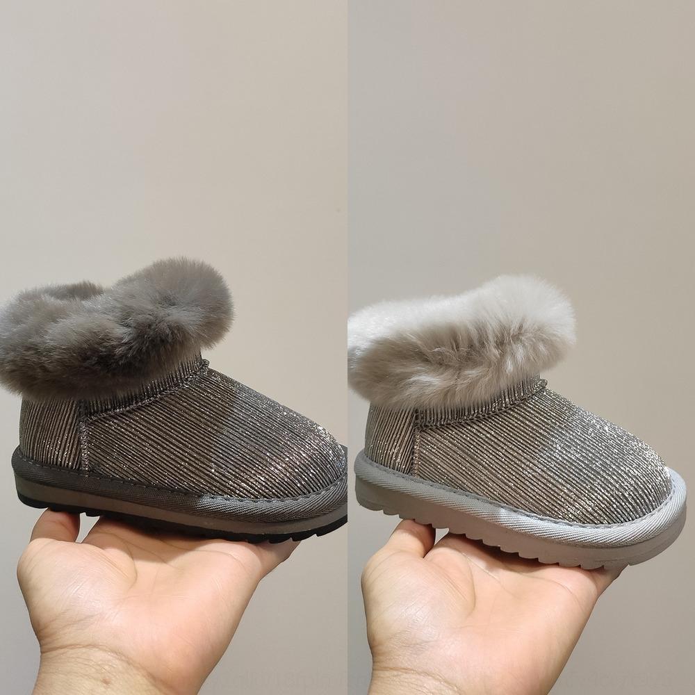 JGBN CLIBEE Водонепроницаемые зимние девушки сапоги с теплыми девочками на бельнге большой эластичный плоский комфорт снежные ботинки с трансмиссионным детьми кружева 32-37 201029