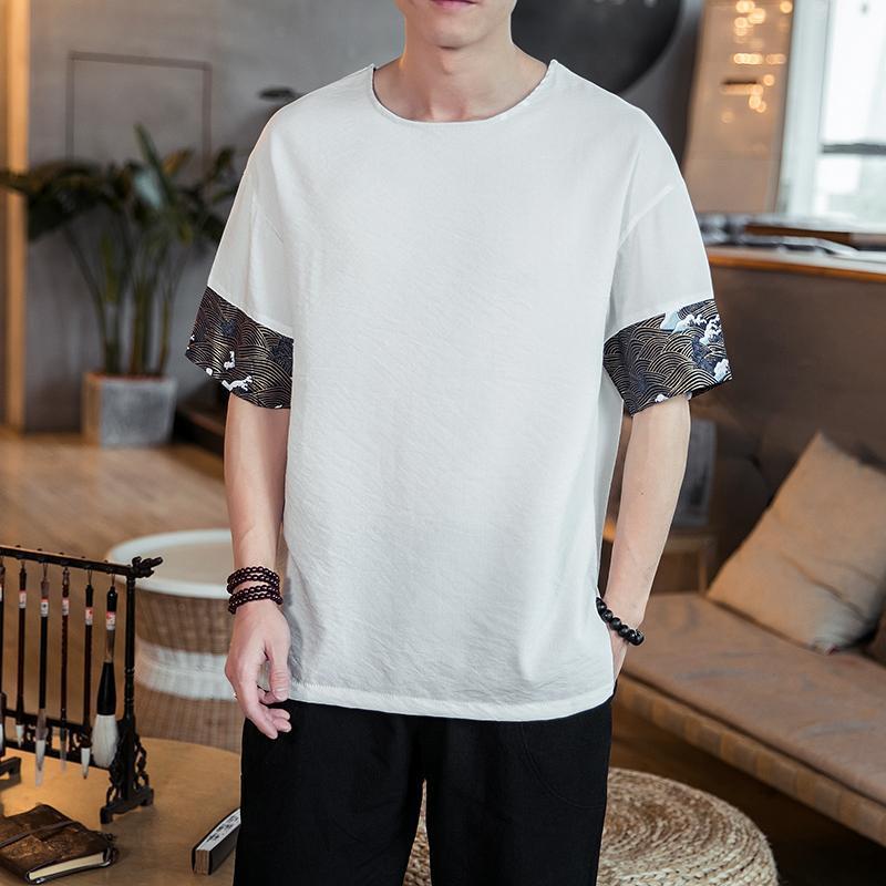 T-shirt da uomo T-shirt giapponese T Shirt Giapponese Uomini Patchwork in pizzo Raglan Mezza manica Casual Casual Maschio 2021 Summer Mens Top Tees Bianco Nero