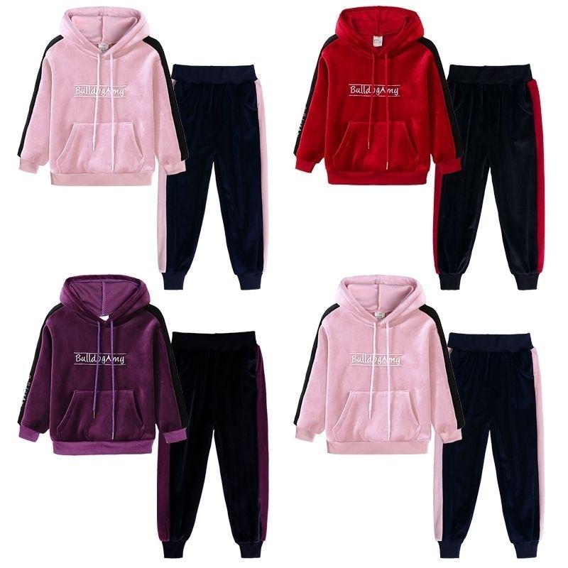 Crianças Roupas Outono inverno meninas esportes ternos menina com capuz moletom calça calça roupa de veludo tracksuit crianças meninas roupas conjuntos 20116