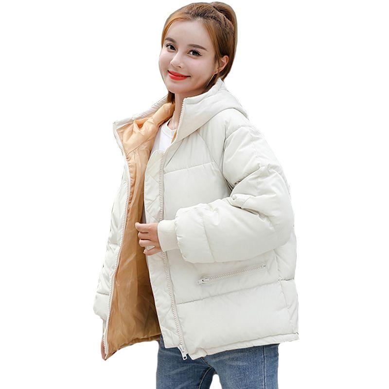 Korean Style New Winter Jacket Women Hooded Cotton Padded Oversived Female Winter Coat Outwear Fashion Short Warm Parka 210203