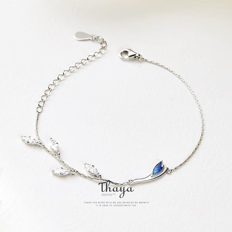 Thaya Chinese Style Beads Bracelets 925 Sterling Silver Blue Crane Bracelets for Girls Elegant Special Jewelry Q1118