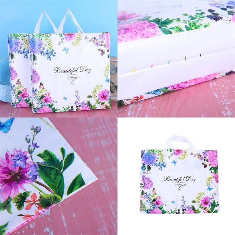 Frauen Mode Verpackungstasche Einkaufen Kunststoff Kleidung Ornamente Verpackung Taschen Farbe Blume Schmetterling Handtasche Heißer Verkauf 0 69hh F2