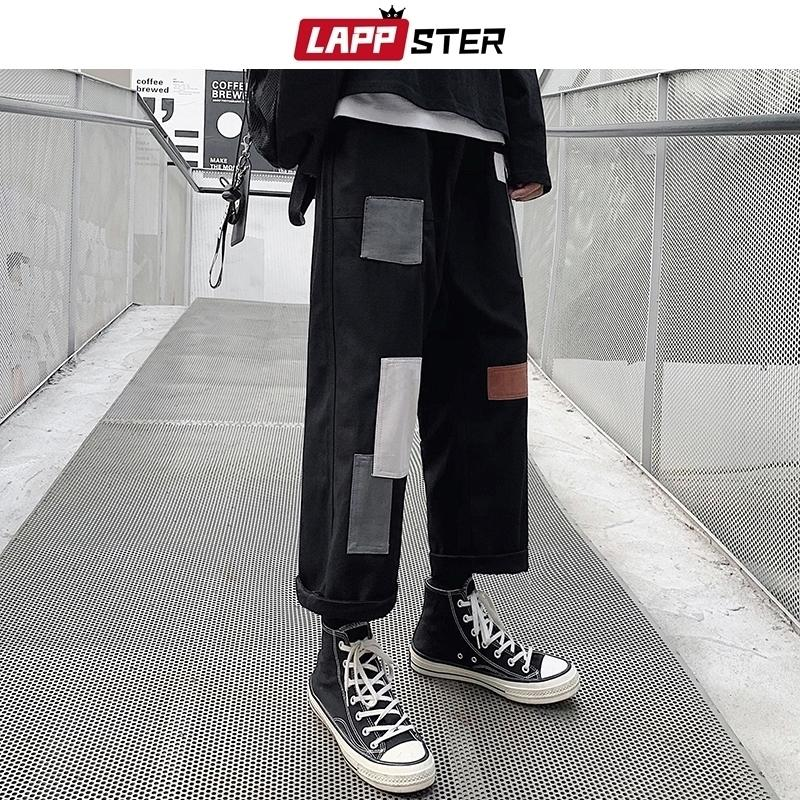 Lappster Hombres Patchwork Coreano Harem Pantalones para hombre Chic Chic Harajuku Black Sweetpants Joggers Hombre Hip Hop Casual Cargo Pantalones 201118