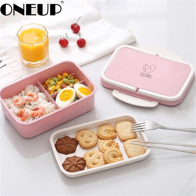 OneUP Lunch Caixa de Trigo Cartoon Bento Caixa de Bento Portátil Armazenamento de Alimentos Eco-Amigável para Crianças Estudantes Microwavable 201210
