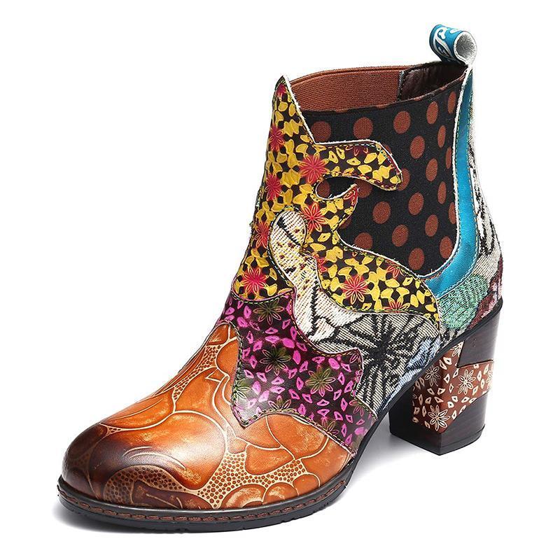Зимние женские ботинки плюс размер искусственная кожа лоскутная напечатанная женская высокая каблука мода скольжения на плюшевых ботилях лодыжки