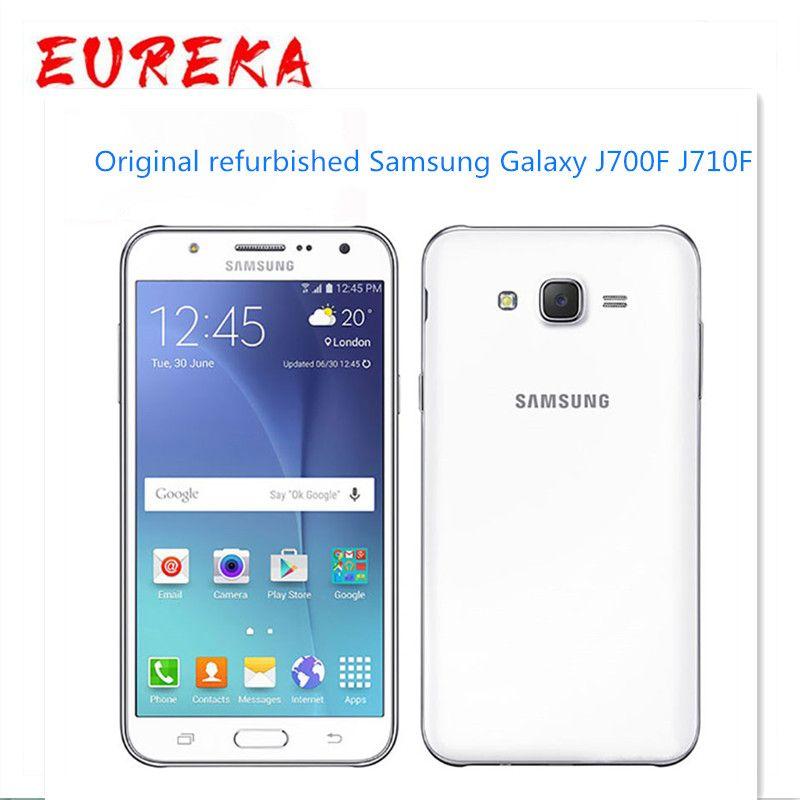Отремонтированный оригинал разблокирован Samsung Galaxy J700F 1.5GB RAM 16GB ROM LTE 4G 13MP Dual SIM-телефон