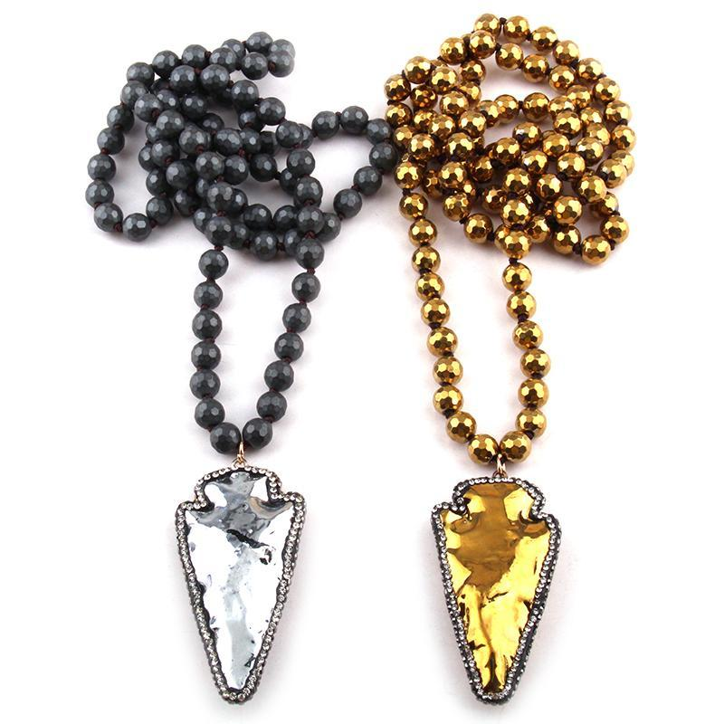 Free Shipping Fashion Faceted Hematite Stone Long Knotted Handmake Paved Arrowhead Pendant Necklaces
