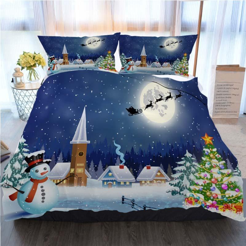 Noel Yatak 3 Adet Nevresim Karlı Köyü Peyzaj Ev Lüks Yumuşak Yorgan Yorgan Kapak İkiz ayarlar