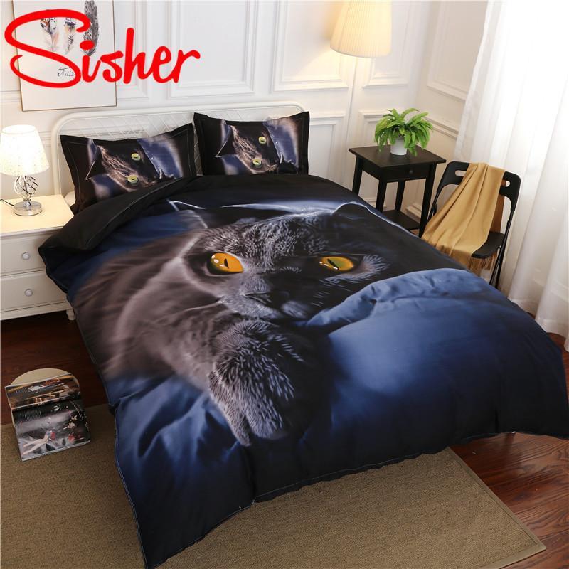 3D Print мультфильм кошка пододеяльник набор темно-синий постельное белье набор односмысленный king 220x240 Housse Coutte плоский лист утешитель 4шт кровать белье LJ201128