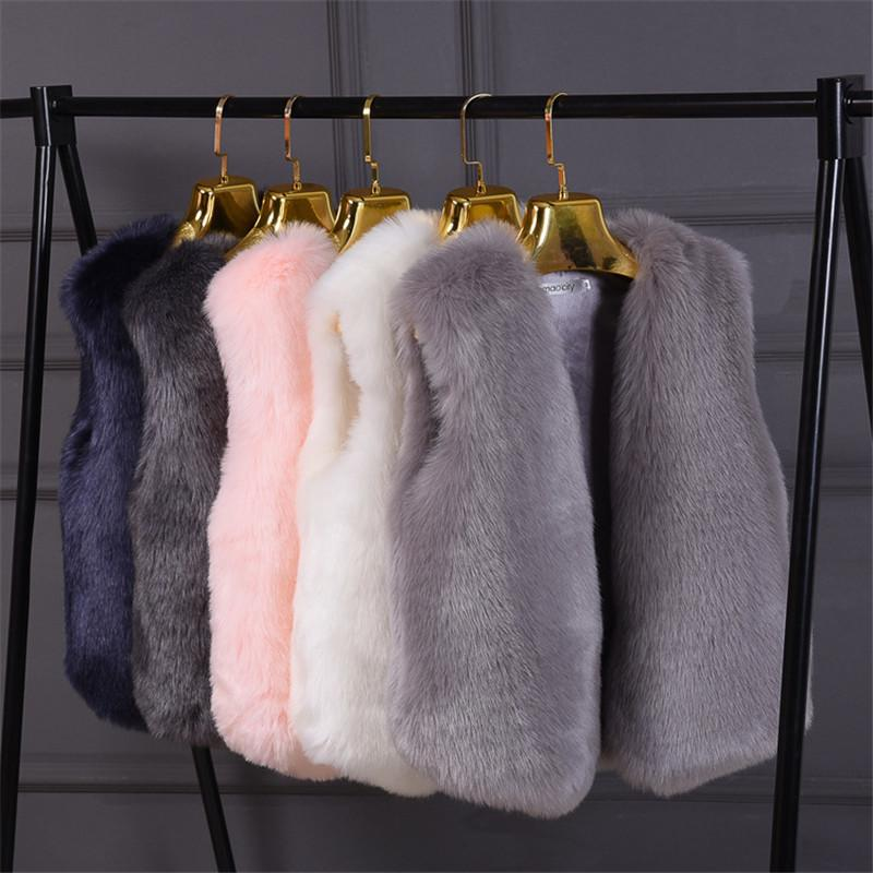 Chaleco de piel Mujer de moda abrigo cálido peludo elegante chaleco chalecos chaquetas fluffy fox piel gilet otoño invierno chaqueta para mujer nuevo 201029