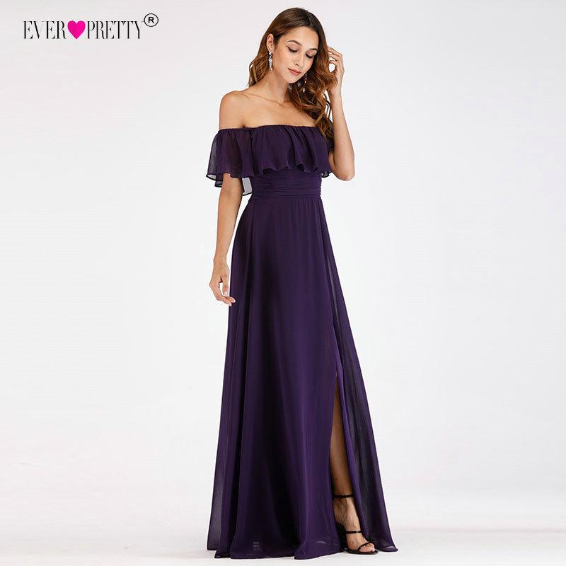 Purple Evening Dresses Ever Pretty Ep07679 Sexy Off-shoulder A-line Long Party Gowns With Ruffles Wedding Guest Dresses Y200930