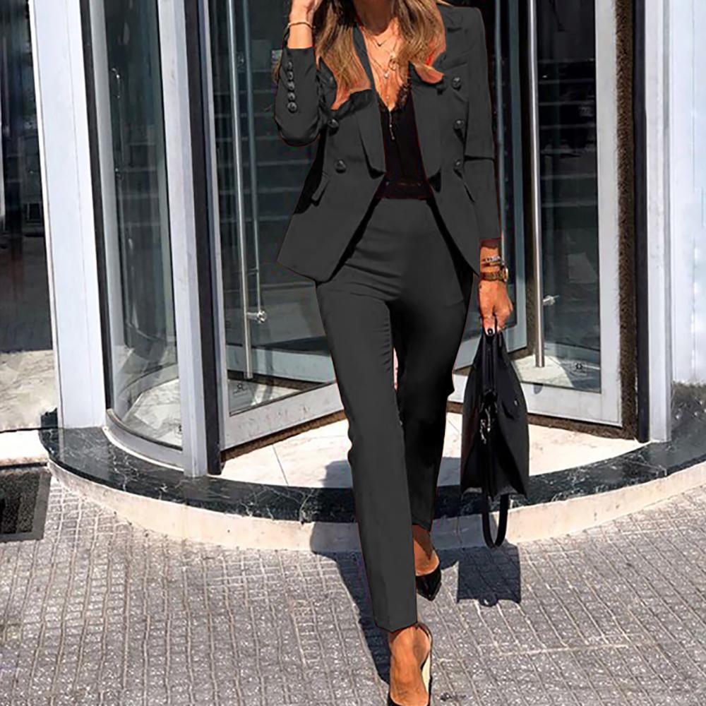 Women Suits Set Office Ladies Formal Occasion suit Business Party Buckle Blazer+Pants Two-piece Set Elegant Workplace Clothing 201009