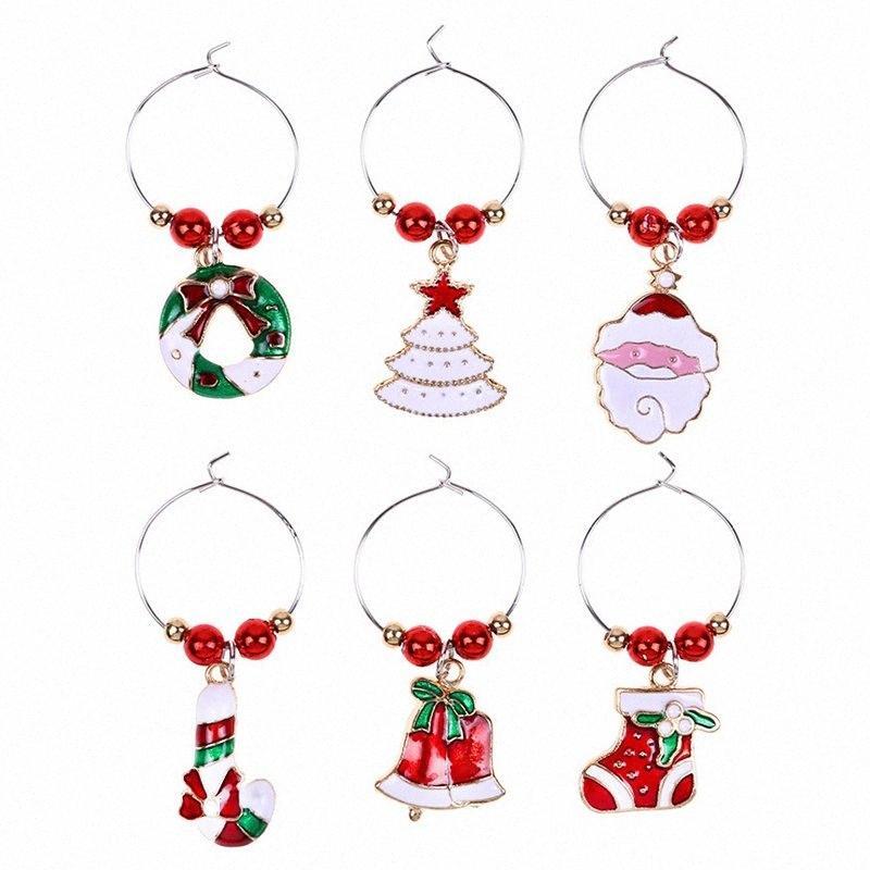 1Set Christmas Vino Vino Decorazione Decorazione Charms Party Capodanno Capodanno Anello Tavolo Decorazioni Xmas Pendants Anello in metallo Decor 74FB #