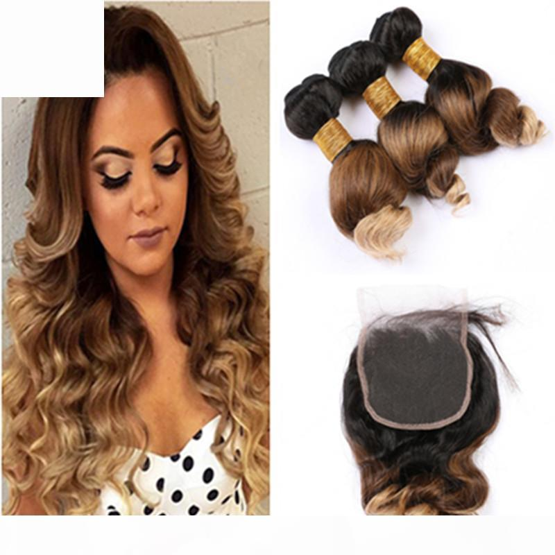 # 1b 4 27 Оммре Свободная Волна Человеческие Волосы 3 Сочетание с закрытием Три тонна Бразильские Волосы Девственные Волосы с Кружевом Закрытие 4x4 Медовая блондинка