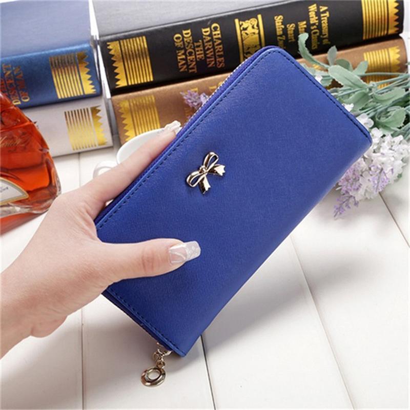 뜨거운 판매 숙녀 귀여운 Bowknot 여성 긴 지갑 휴대용 클러치 가방 2020 새로운 지갑 전화 카드 홀더 가방 지갑