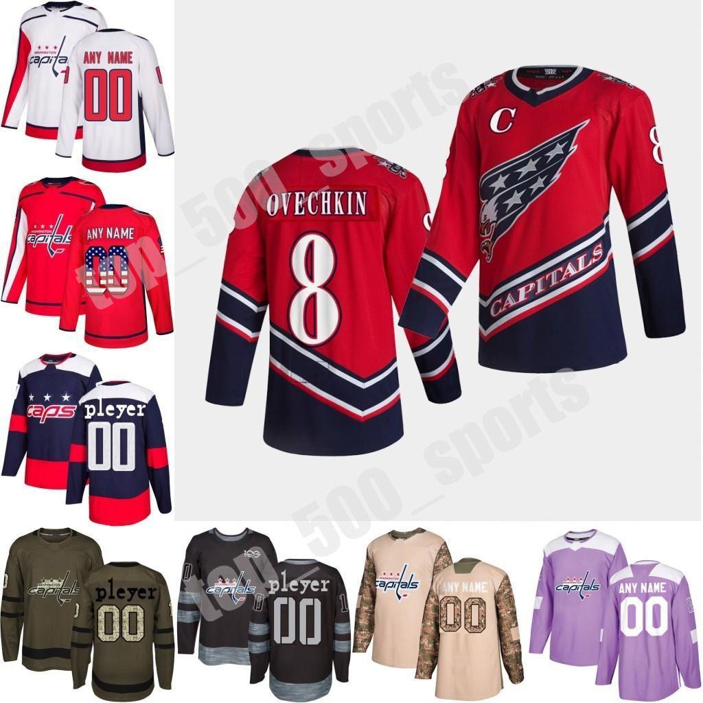 2021 Reverse Retro 사용자 정의 워싱턴 대문자 Wilson Oshie Holtby Walker Alex Ovechkin Hockey Jersey 스티치 S-3XL