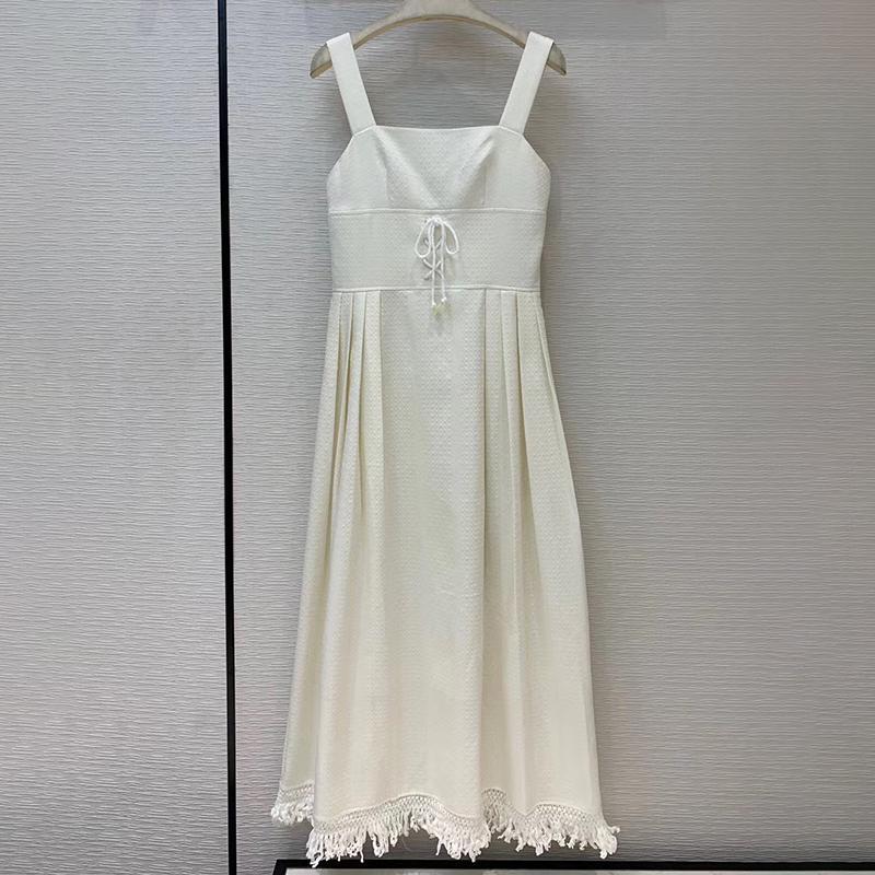 Mujeres se visten de moda Fiesta borla Jacquard del lunar de vacaciones cabestro blanca elegante vestido de la liga 2020 y Otoño Invierno Vestid