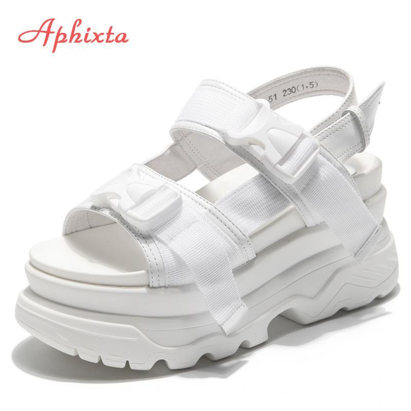 Aphixta piattaforma scarpe da donna sandali con tacchi a cuneo tacchi con tacchi a cuneo a cuneo a cunecisa altezza increaming donne fibbia densamente soleggiato sandali spiaggia sandalo donna sandalo T200515