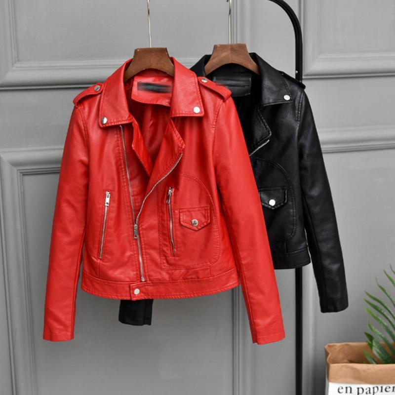 2020 Giacca Autunno Nuova femmina Faux di cuoio molle cappotto del rivestimento delle donne Rosso / Nero / Castano Corti PU Corea Outwear signora Slim moto C1106