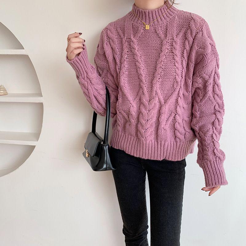 camisola das mulheres curtas pullover outono / inverno 2020 novo estilo coreano soltas e preguiçoso quente grossa torção de malha mulheres