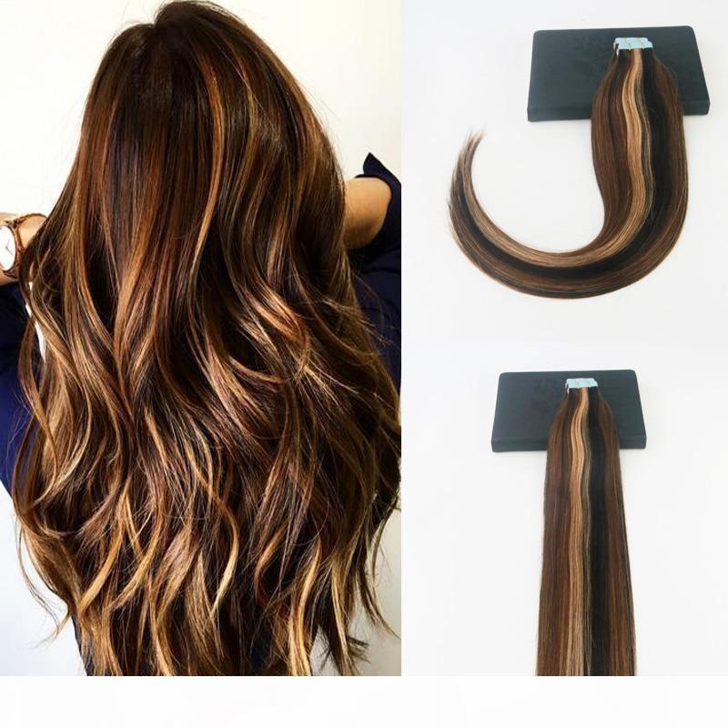 bande dans extenions cheveux P # 2 # 5 # 27 du Brésil Virgin Hair 100G 40pcs Ensemble complet peau Trame cheveux Extensions pour les femmes