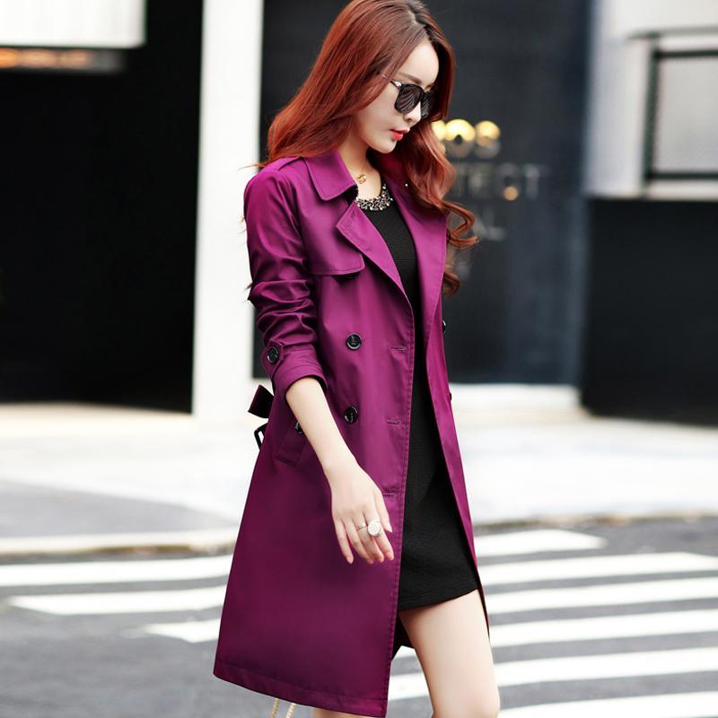 Весенние женские траншеи для женщин с разворотом ошейник Slim Fit с двубортным пальто плюс размер 3XL 4XL женская одежда 201111