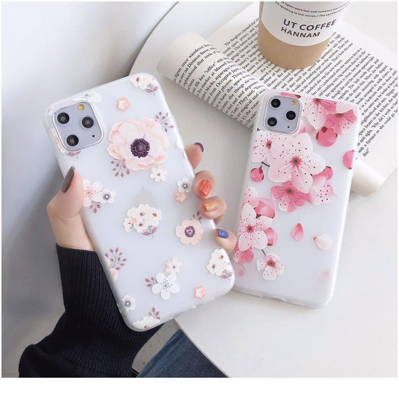 Telefon Kılıfı Için iphone 11 Pro 7 8 6 6 S Artı X XR XS Max SE2 Çiçekler Yumuşak TPU Şile 3 Bbylxn