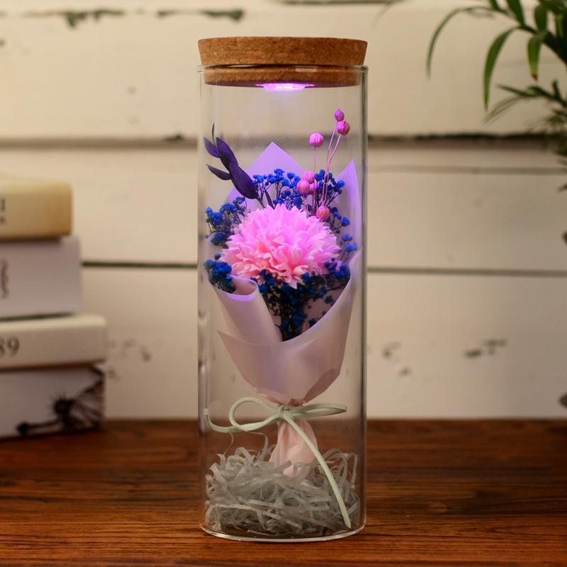 Muttertag Geschenk Künstliche Ewige Rose mit leichten Ewigen Blumen Nelke Sonnenblume in Box Valentines Neujahrsgeschenk
